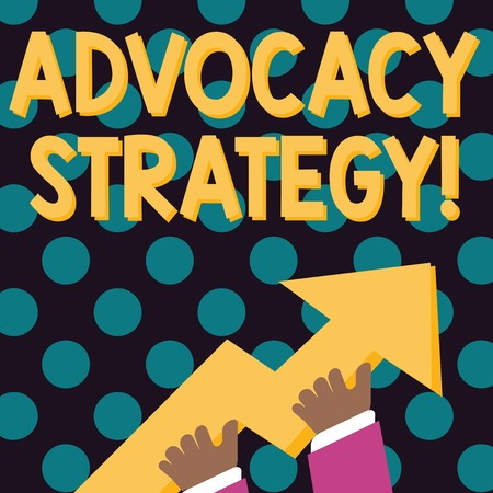 Word writing text Advocacy Strategy. Business photo showcasing activity by an individual that aims to influence decisions photo of Hand Holding Colorful Huge 3D Arrow Pointing and Going Up