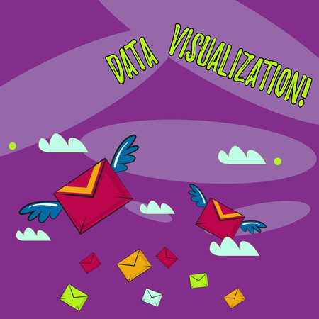 Word writing text Data Visualization. Business photo showcasing representation of information in the form of a chart Many Colorful Airmail Flying Letter Envelopes and Two of Them with Wings
