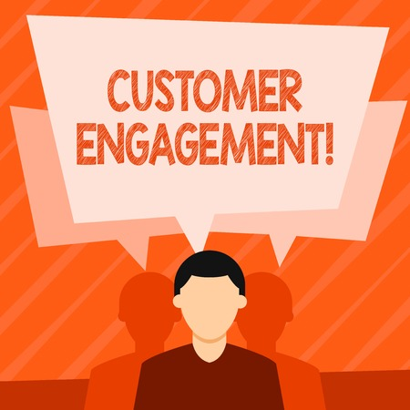 Word writing text Customer Engagement. Business photo showcasing the emotional connection between a customer and a brand Faceless Man has Two Shadows Each has Their Own Speech Bubble Overlapping