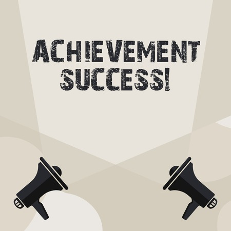 Conceptual hand writing showing Achievement Success. Concept meaning status of having achieved and accomplished an aim Spotlight Crisscrossing Upward from Megaphones on the Floor 写真素材
