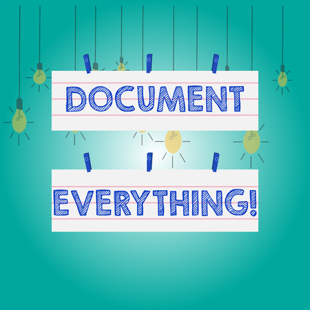 Word writing text Document Everything. Business photo showcasing computer file that contains text that you have written Two Color Blank Strip Size Lined Paper Sheet Hanging Using Blue Clothespin