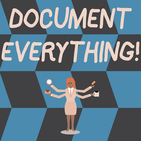 Writing note showing Document Everything. Business concept for computer file that contains text that you have written Woman with Four Arms Extending Sideways Workers Needed Item Imagens