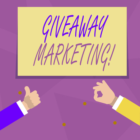 Handwriting text Giveaway Marketing. Conceptual photo distribution of free merchandise to promote your business Two Businessmen Hands Gesturing the Thumbs Up and Okay Sign for Promotion