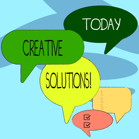 Handwriting text writing Creative Solutions. Conceptual photo mental process of creating a solution to a problem Many Color Speech Bubble in Different Sizes and Shade for Group Discussion