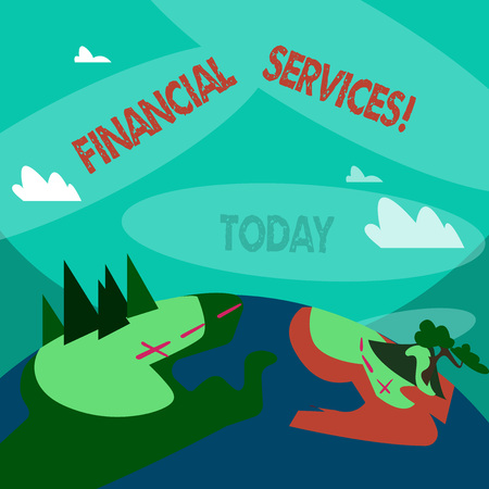 Word writing text Financial Services. Business photo showcasing economic services provided by the finance industry Mountain View with Marked Hiking Trail and Trekking Tracks for Outdoor Ads