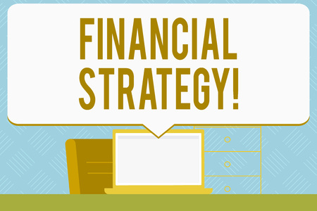 Writing note showing Financial Strategy. Business concept for plan to finance its overall operations to meet objectives Speech Bubble Pointing White Laptop Screen in Workspace Idea Banco de Imagens