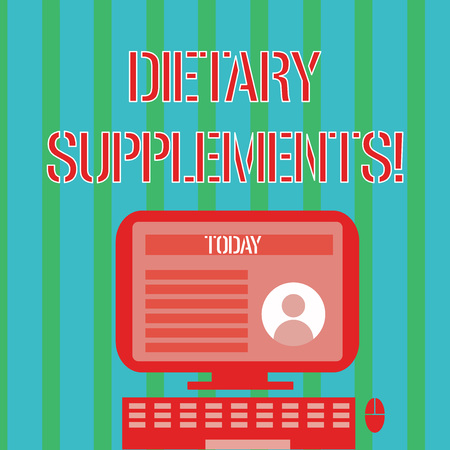 Handwriting text Dietary Supplements. Conceptual photo Product taken orally intended to supplement ones diet Desktop Computer Mounted on Stand with Online Profile Data on Monitor Screen Stockfoto