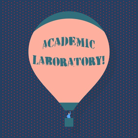 Handwriting text writing Academic Laboratory. Conceptual photo where students can go to receive academic support Blank Pink Hot Air Balloon Floating with One Passenger Waving From Gondola Imagens