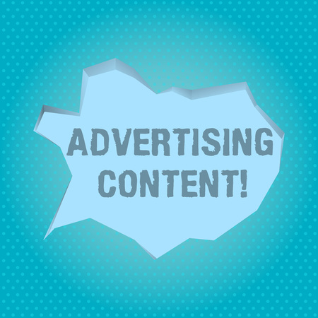 Word writing text Advertising Content. Business photo showcasing Distributing added value content to a paid channel Blank Pale Blue Speech Bubble in Irregular Cut Edge Shape 3D Style Backdrop Banco de Imagens