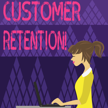 Writing note showing Customer Retention. Business concept for Actions or activities companies take to retain customers photo of Young Busy Woman Sitting Side View and Working on her Laptop