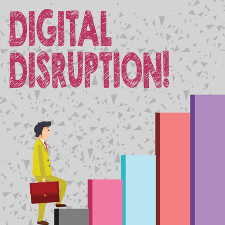 Handwriting text Digital Disruption. Conceptual photo transformation caused by emerging digital technologies Businessman Carrying a Briefcase is in Pensive Expression while Climbing Up