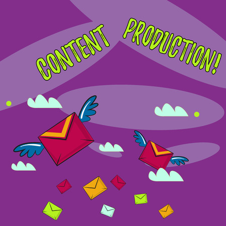 Word writing text Content Production. Business photo showcasing way of developing and creating visual or written assets Many Colorful Airmail Flying Letter Envelopes and Two of Them with Wings