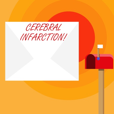 Word writing text Cerebral Infarction. Business photo showcasing focal brain necrosis due to complete and long ischemia Blank Big White Envelope and Open Red Mailbox with Small Flag Up Signalling