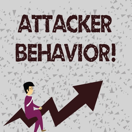 Word writing text Attacker Behavior. Business photo showcasing analyze and predict the attacker behavior of the attack Businessman with Eyeglasses Riding Crooked Color Arrow Pointing Going Up