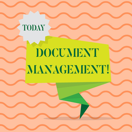 Word writing text Document Management. Business photo showcasing Computerized analysisagement of electronic documents Blank Space Green Two Tone Folded Back Banner Strip with Seal Stamp Sticker
