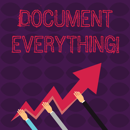 Handwriting text writing Document Everything. Conceptual photo computer file that contains text that you have written Three Hands Holding Colorful Zigzag Lightning Arrow Pointing and Going Up Imagens