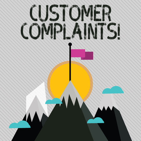 Text sign showing Customer Complaints. Business photo text expression of dissatisfaction on a consumer s is behalf Three High Mountains with Snow and One has Blank Colorful Flag at the Peak