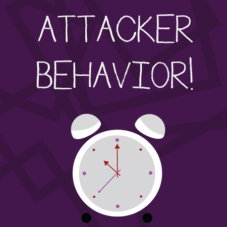 Writing note showing Attacker Behavior. Business concept for analyze and predict the attacker behavior of the attack Colorful Round Analog Two Bell Alarm Desk Clock with Seconds Hand photo Stock Photo