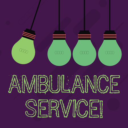 Writing note showing Ambulance Service. Business concept for emergency response wing of the National Health Service Color Pendant Bulb Hanging with One Different Shade Lightbulb Archivio Fotografico