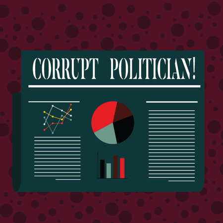 Word writing text Corrupt Politician. Business photo showcasing a public leader who misuse of public authority and fund Colorful Layout Design Plan of Text Line, Bar, Linear and Pie Chart Diagram Stock Photo