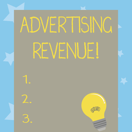 Conceptual hand writing showing Advertising Revenue. Concept meaning money media earn from selling advertising space or time Light Bulb with Filament Inside Resting on Blank Color Paper Imagens
