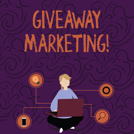 Handwriting text Giveaway Marketing. Conceptual photo distribution of free merchandise to promote your business Woman Sitting Crossed Legs on Floor Browsing the Laptop with Technical Icons