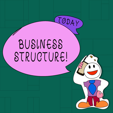 Handwriting text Business Structure. Conceptual photo Organization framework that is legally recognized Smiley Face Man in Necktie Holding Smartphone to his Head in Sticker Style Reklamní fotografie