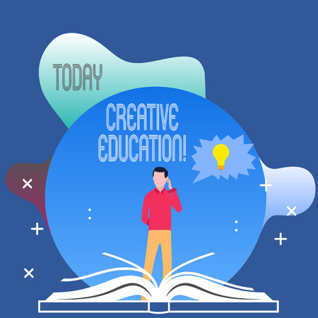 Conceptual hand writing showing Creative Education. Concept meaning students able to use imagination and critical thinking Man Standing Behind Open Book Jagged Speech Bubble with Bulb