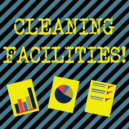 Text sign showing Cleaning Facilities. Business photo showcasing Place or equipment provided for a cleaning purposes Presentation of Bar, Data and Pie Chart Diagram Graph Each on White Paper