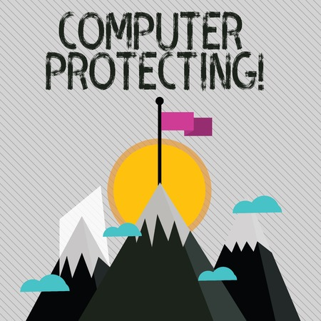 Text sign showing Computer Protecting. Business photo text protecting computer against unauthorized intrusions Three High Mountains with Snow and One has Blank Colorful Flag at the Peak