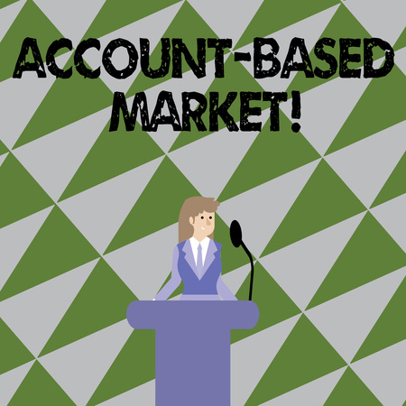 Text sign showing Account Based Market. Business photo showcasing resources target a key group of specific accounts Businesswoman Standing Behind Podium Rostrum Speaking on Wireless Microphone 版權商用圖片