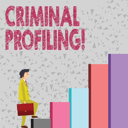 Handwriting text Criminal Profiling. Conceptual photo Develop profiles for criminals who not yet apprehended Businessman Carrying a Briefcase is in Pensive Expression while Climbing Up