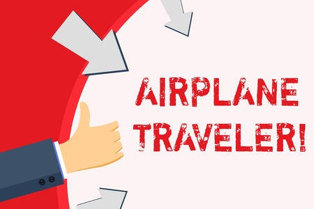 Handwriting text Airplane Traveler. Conceptual photo the action or process of making a journey by aircraft Hand Gesturing Thumbs Up and Holding on Blank Space Round Shape with Arrows