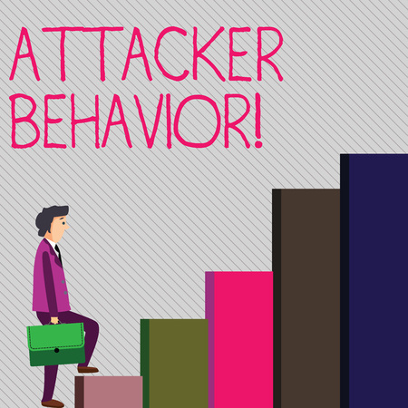 Conceptual hand writing showing Attacker Behavior. Concept meaning analyze and predict the attacker behavior of the attack Man Carrying a Briefcase in Pensive Expression Climbing Up Stock Photo
