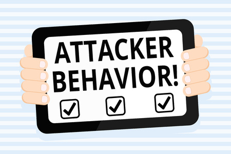Writing note showing Attacker Behavior. Business concept for analyze and predict the attacker behavior of the attack Color Tablet Smartphone with Screen Handheld Back of Gadget Stock Photo