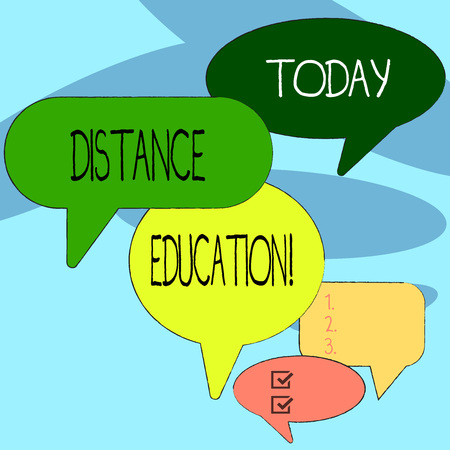 Handwriting text writing Distance Education. Conceptual photo learning remotely without being present at school Many Color Speech Bubble in Different Sizes and Shade for Group Discussion