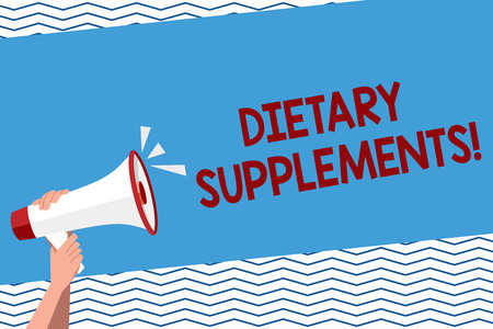 Conceptual hand writing showing Dietary Supplements. Concept meaning Product taken orally intended to supplement ones diet Human Hand Holding Megaphone with Sound Icon and Text Space