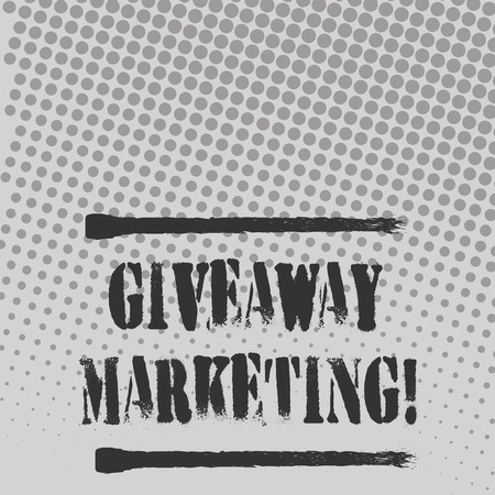 Text sign showing Giveaway Marketing. Business photo text distribution of free merchandise to promote your business Halftone in Varied Sized Dots that Simulates Imagination of Continuous Tone Banco de Imagens