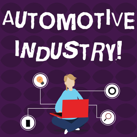 Word writing text Automotive Industry. Business photo showcasing organizations involved in the business of motor vehicles Woman Sitting Crossed Legs on Floor Browsing the Laptop with Technical Icons