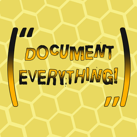 Text sign showing Document Everything. Business photo showcasing computer file that contains text that you have written Mesh Pattern of Hexagon Shape in Golden Yellow Pastel Color for Background