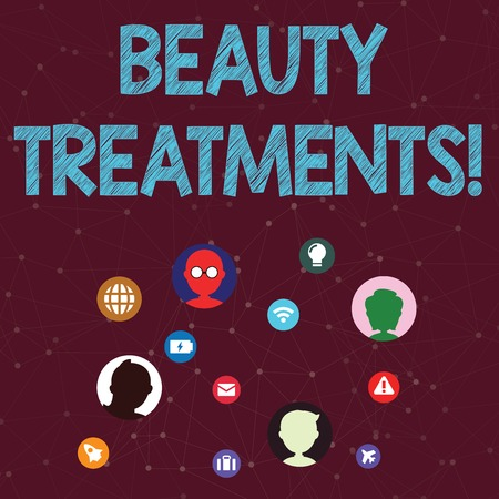 Handwriting text Beauty Treatments. Conceptual photo use of some form of treatment to improve someone s is beauty Networking Technical Icons with Chat Heads Scattered on Screen for Link Up