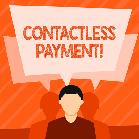 Word writing text Contactless Payment. Business photo showcasing use near field communication for making secure payments Faceless Man has Two Shadows Each has Their Own Speech Bubble Overlapping