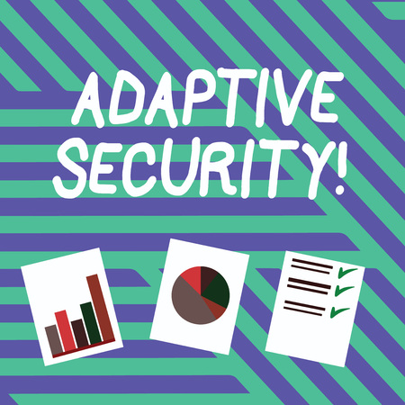 Conceptual hand writing showing Adaptive Security. Concept meaning analyzes behaviors and events to protect against threat Presentation of Bar, Data and Pie Chart Graph on White Paper Reklamní fotografie