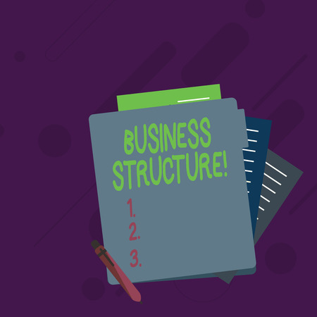 Conceptual hand writing showing Business Structure. Concept meaning Organization framework that is legally recognized Lined Paper Stationery Partly into View from Pastel Folder