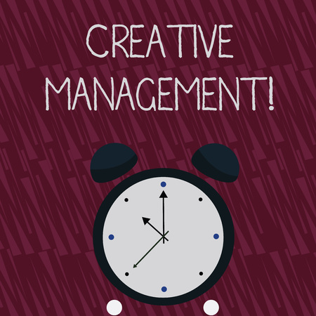 Writing note showing Creative Management. Business concept for Managing of creative thinking skills and mental process Colorful Round Analog Two Bell Alarm Desk Clock with Seconds Hand photo Stockfoto