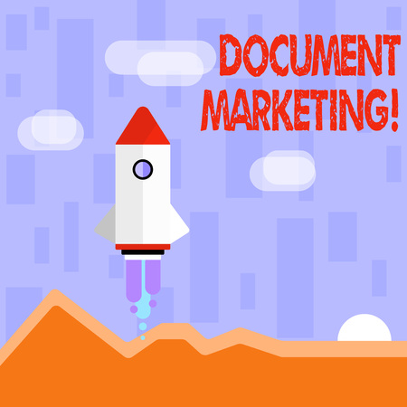 Writing note showing Document Marketing. Business concept for written strategy for selling the products of a business Colorful Spacecraft Shuttle Launching New Business Startup