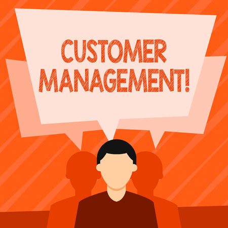 Word writing text Customer Management. Business photo showcasing customer retention and ultimately driving sales growth Faceless Man has Two Shadows Each has Their Own Speech Bubble Overlapping