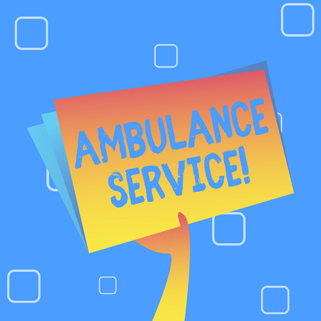 Handwriting text Ambulance Service. Conceptual photo emergency response wing of the National Health Service Hand Holding and Raising Blank Space Colorful File Folder with Sheet Inside Stock Photo