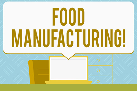 Writing note showing Food Manufacturing. Business concept for transformation of agricultural products into food Speech Bubble Pointing White Laptop Screen in Workspace Idea Imagens