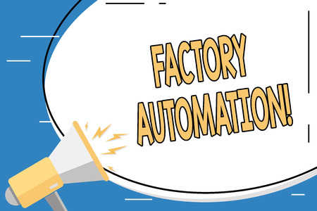 Conceptual hand writing showing Factory Automation. Concept meaning automatic operation and control of machinery or processes Blank White Huge Oval Shape Sticker and Megaphone Shouting
